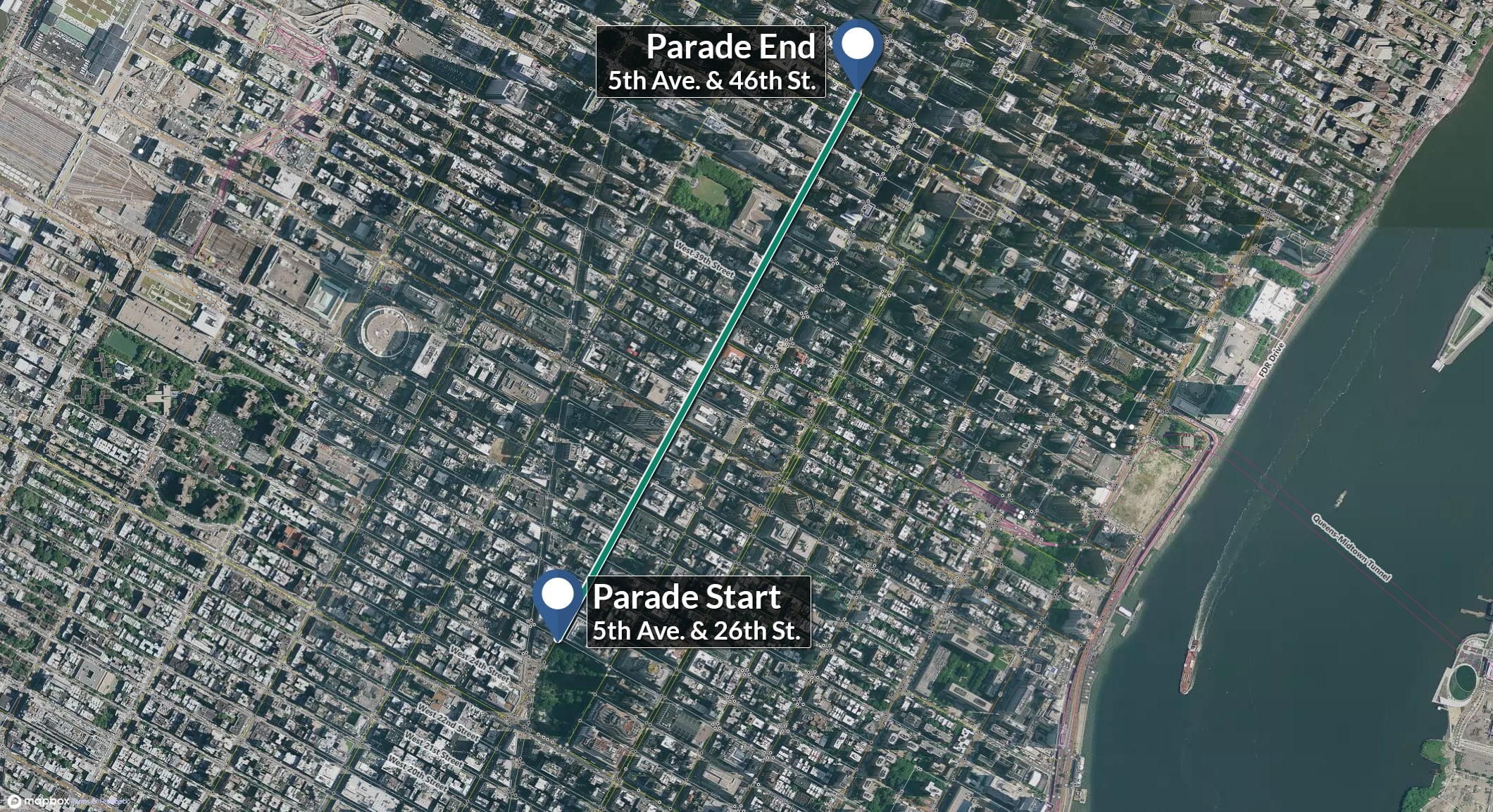 The Parade will start at 5th & 26th and proceed north to 5th and 46.