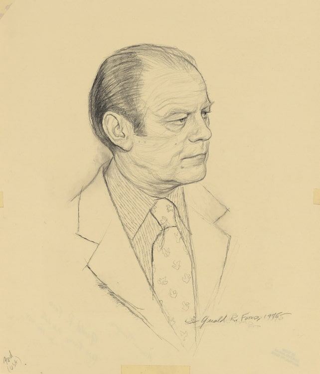 Sketch of President Gerald Ford by artist Miriam Troop